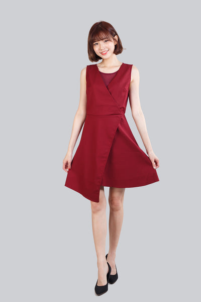 HAZEL CHIFFON SHEATH DRESS WINE