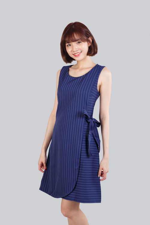 AZURA STRIPED RIBBON DRESS NAVY