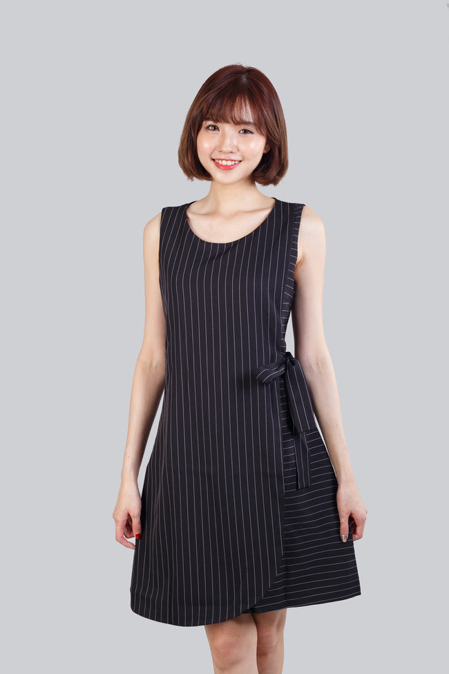 CARLIN STRIPED RIBBON DRESS BLACK