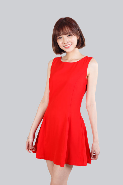 ETHEL FLARE BASIC DRESS RED