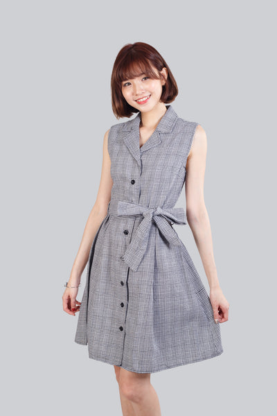 KEELY TEXTURED FLARE DRESS GREY