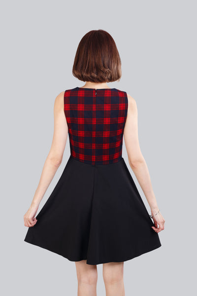 EVE CHECKED FLARE DRESS RED