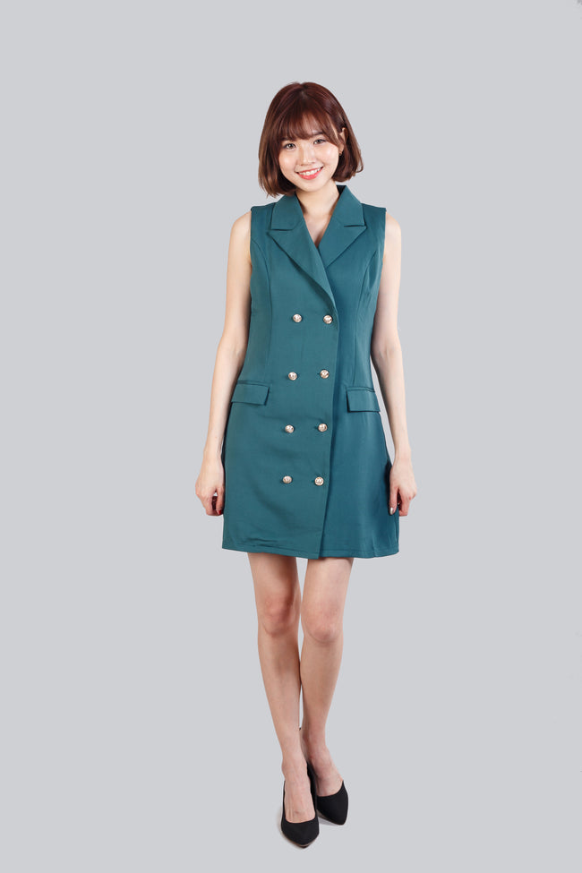ENGLISH COLLAR  DRESS GREEN