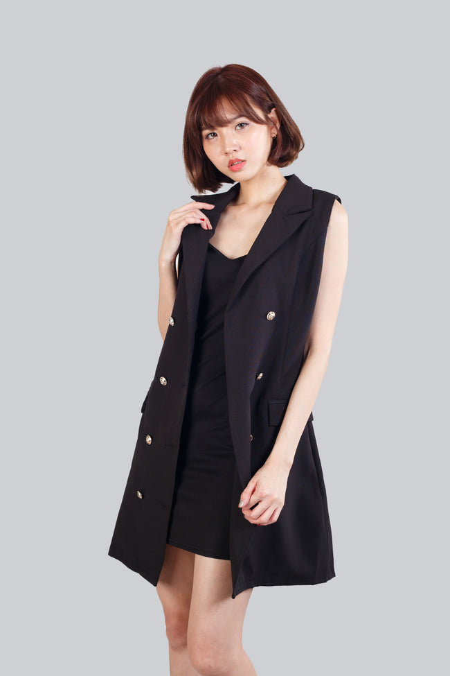 ENGLISH COLLAR  DRESS BLACK