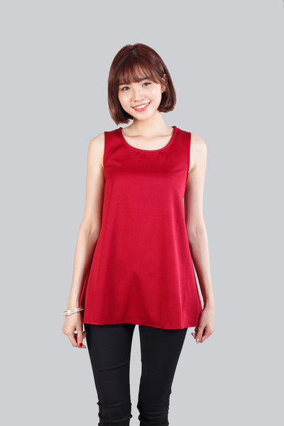 ALCEE BASIC FLARE TOP ROSE RED