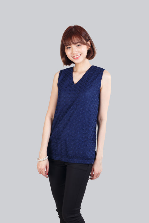 CARA LACE TOP NAVY