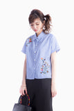 CARLY EMBROIDERY BLOUSE STRIPED BLUE
