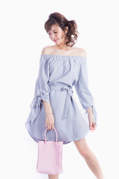 CYNTHIA OFF SHOULDER DRESS GREY