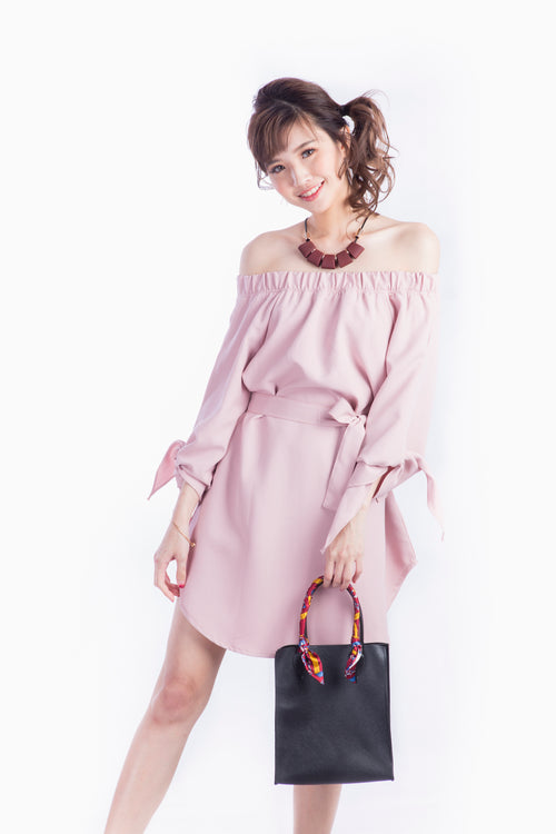 CYNTHIA OFF SHOULDER DRESS PINK