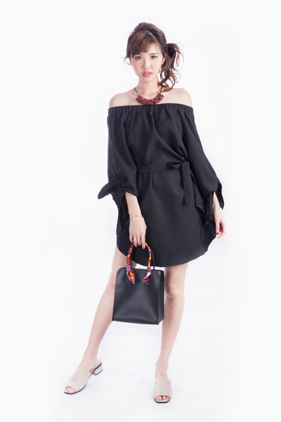 CYNTHIA OFF SHOULDER DRESS BLACK