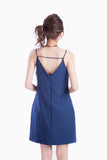 IZELLAH BACK-TIE SHIFT DRESS NAVY
