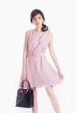 ZOE SCALLOP DRESS PINK
