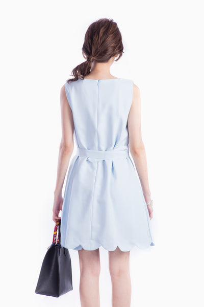 ZOE SCALLOP DRESS LIGHT BLUE
