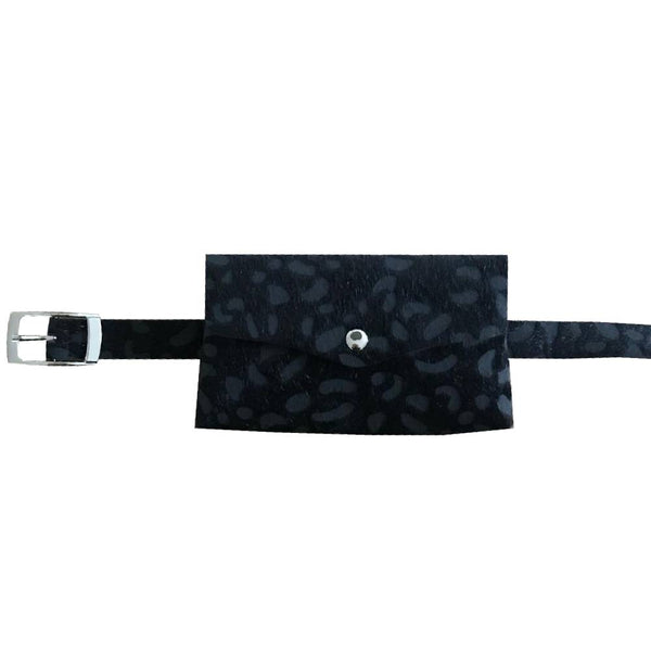 Leopard belt bag - black