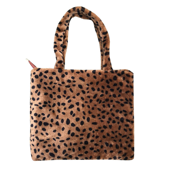 Furry leopard bag - Brown