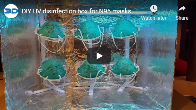 DIY UVC disinfection box for N95 masks and other equipment, fight coronavirus video
