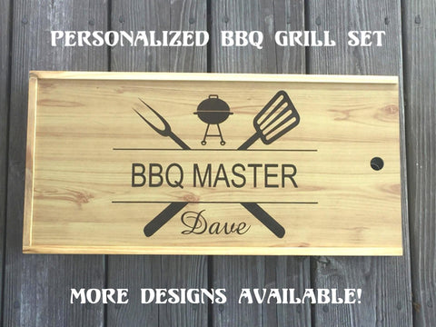 Personalized BBQ Set for Father's Day with BBQ tools