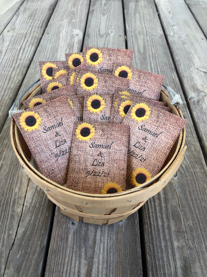 Burlap With Sunflowers Seed Packets