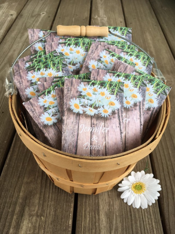 Custom Rustic Daisy Personalized Wedding Seed Packets
