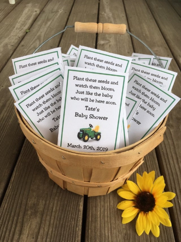 Tractor Baby Shower Seed Packets