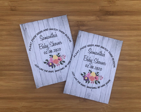 Wood Floral Baby Shower Seed Packets