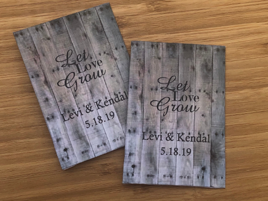 Wood Pallet Wood Design Personalized Wedding Seed Packets