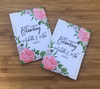 Pink rose with gold and greenery seed packets