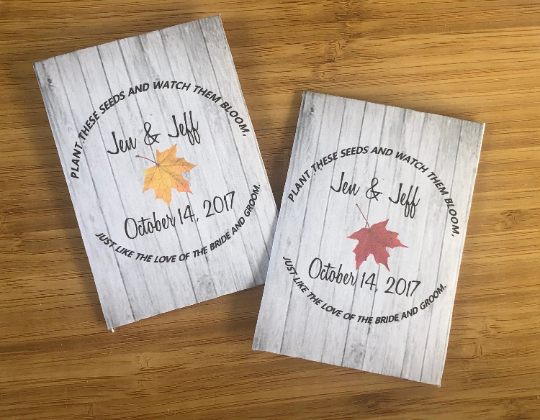 Rustic Fall Leaf Wedding Seed Packets