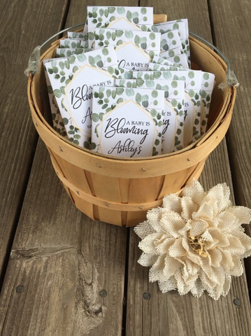 Custom eucalyptus Baby Shower Favors : greenery design