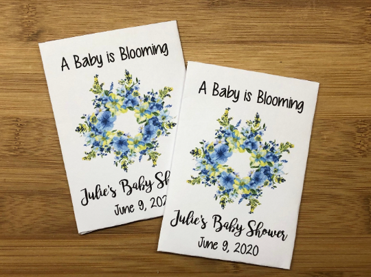 Blue Baby Shower Seed Packets