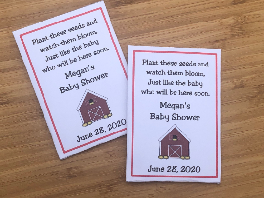 Barn Baby Shower Seed Packets Favors