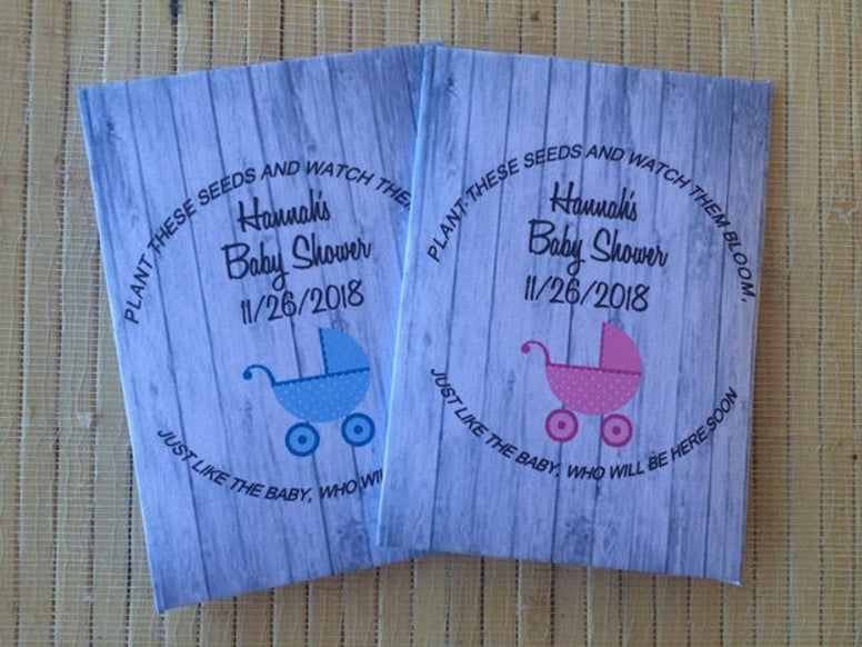 Pink stroller baby shower favors, blue stoller baby shower favors, boy baby shower seed packets, girl baby shower seed packets, strollers