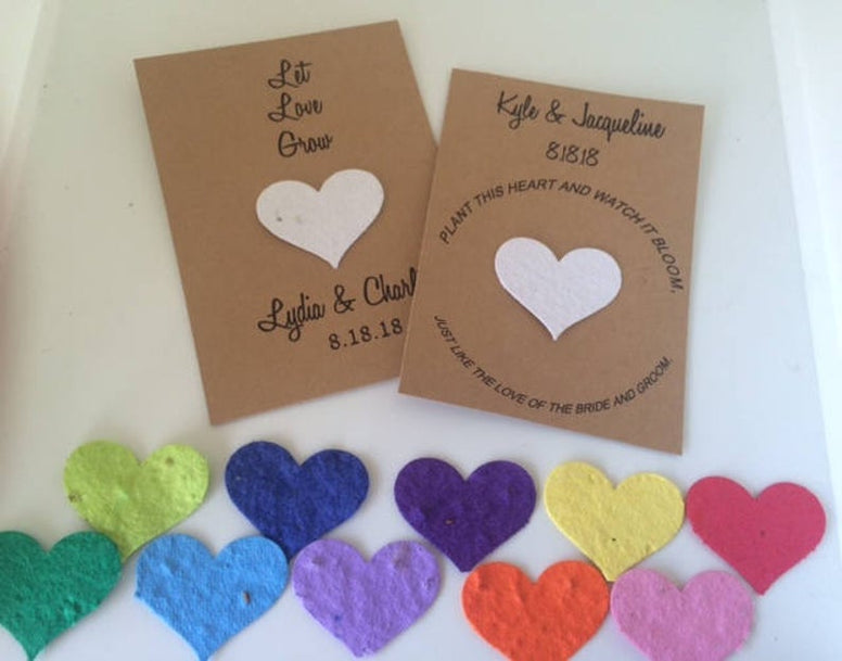 Plantable Paper Favors Heart Seed Favors