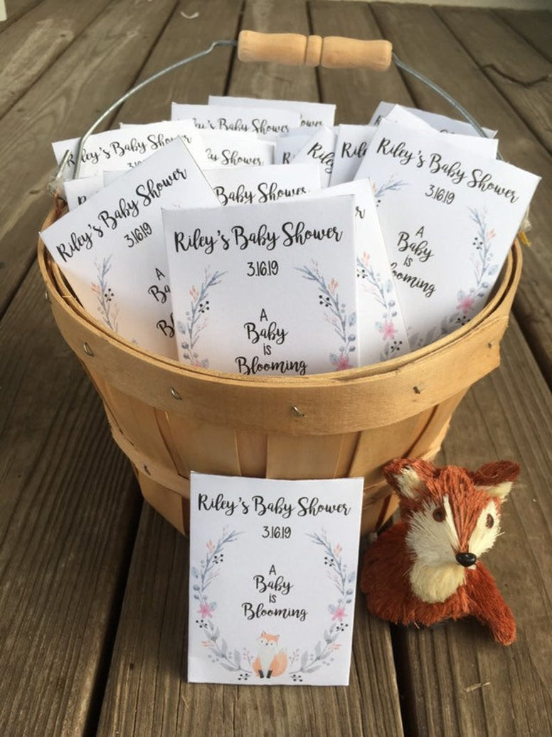 fox baby shower seed packets woodland favors