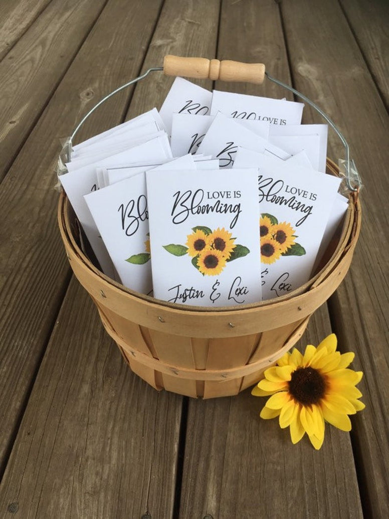 sunflower seeds, sunflower wedding seed packets, sunflower wedding favors, sunflower wedding decorations, custom sunflower favors