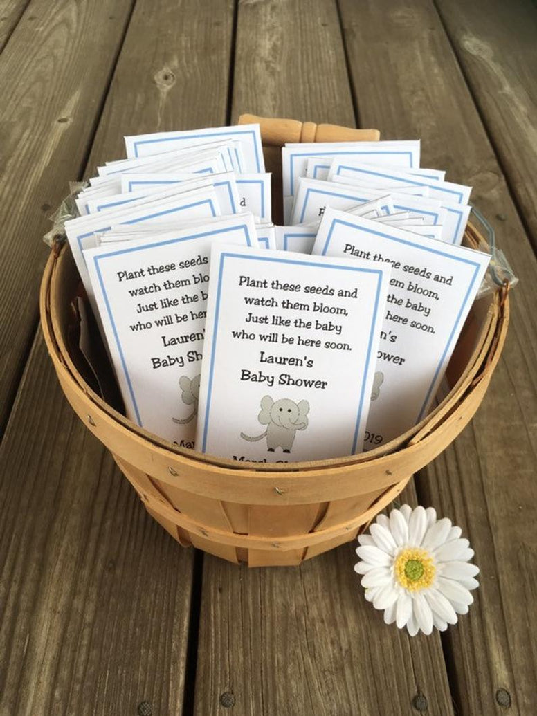 Elephant Baby Favors, Baby Shower Favors, Baby Shower Seed Packets, Circus Baby Shower, Baby Boy Favors,  Baby Shower Favors