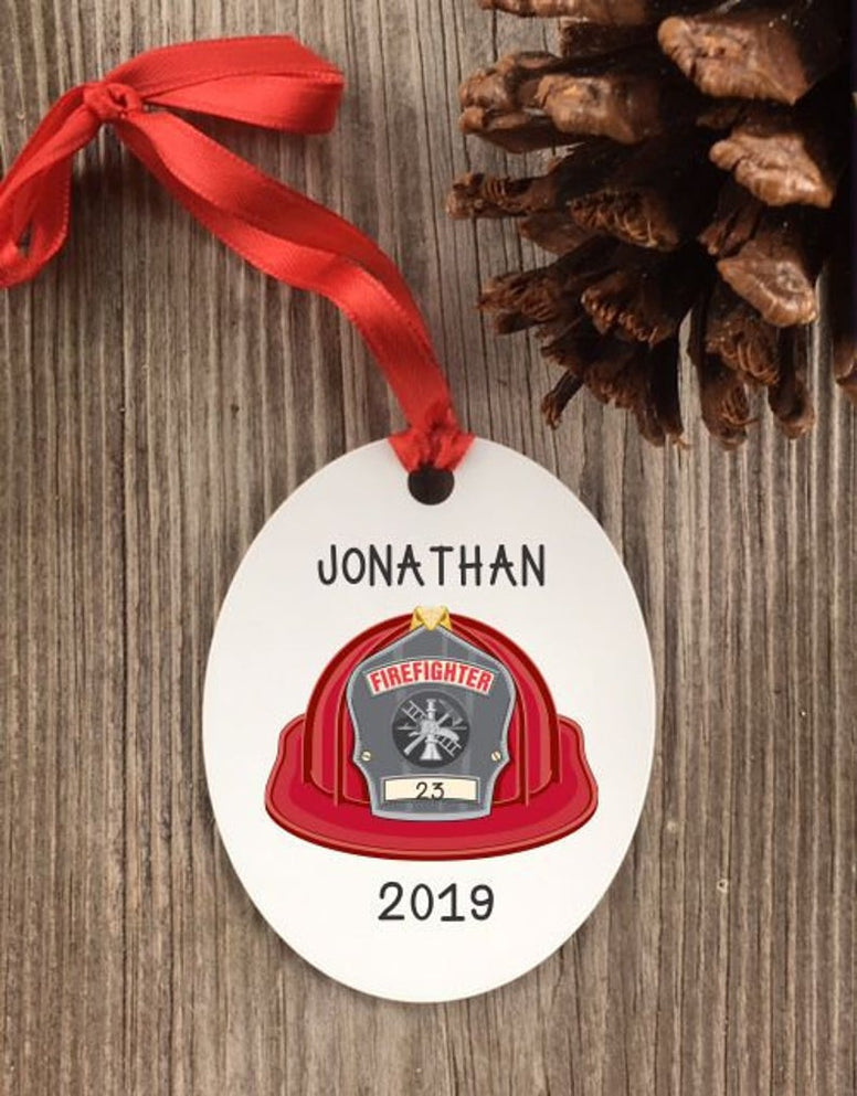 fireman Ornament, custom fireman ornament, fireman christmas ornament, personalized fireman gift, fire house gifts, custom firemen gifts
