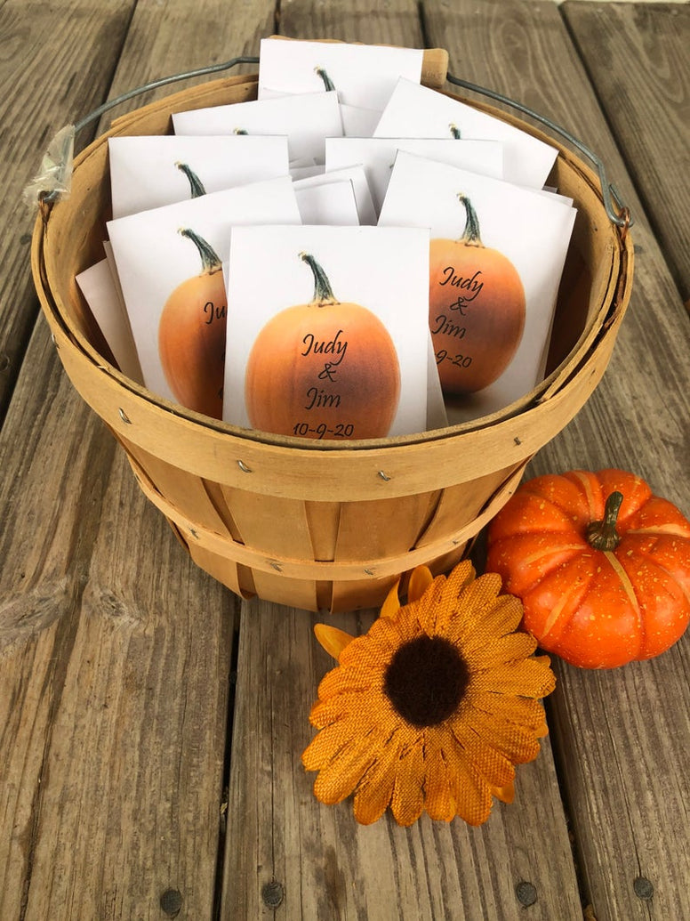Fall Pumpkin Wedding Seed Packets Favors