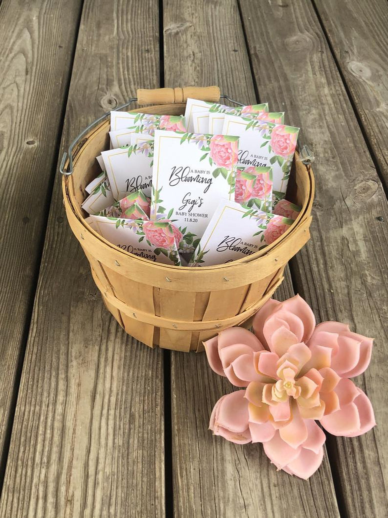 Custom pink floral Baby Shower Favors, pink rose seed packets, gold and pink baby shower favors, custom baby shower seed packets with roses