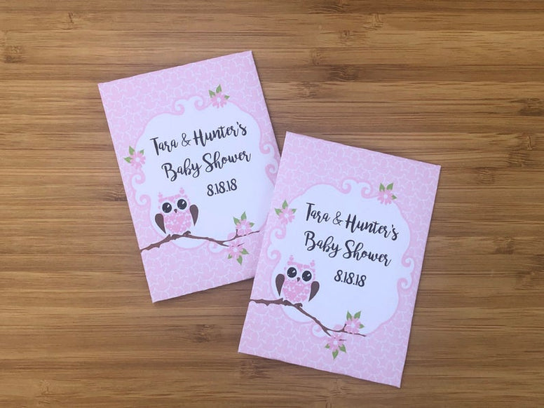 Owl girl baby shower seed packet favors