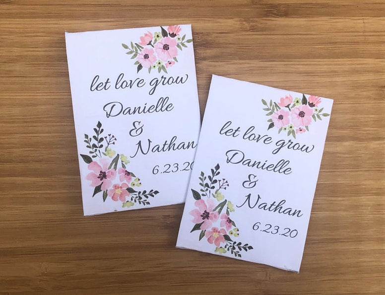 pink floral wedding seed packets