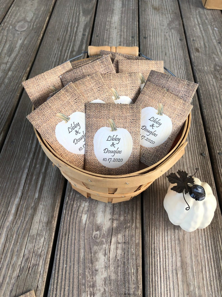 Fall White Pumpkin Burlap Seed Packet Favors