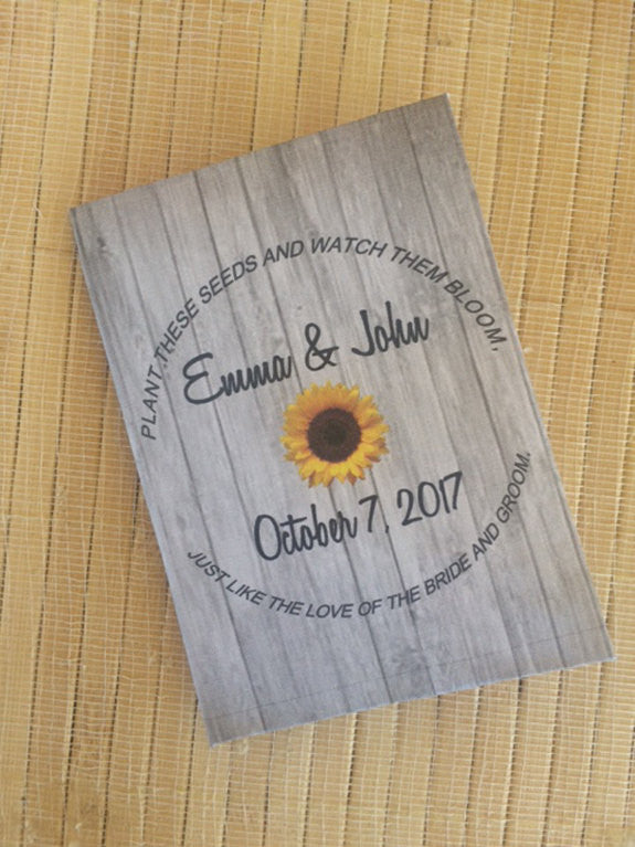 Rustic Wood with Sunflower Seed Packets - Favor Universe