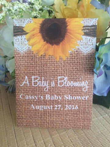 Baby Shower Seed Packets with Burlap and Lace and Large Sunflower - Favor Universe