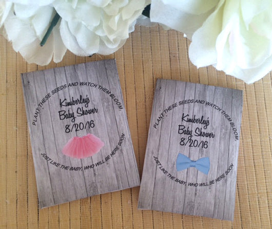 Tutu and Bowtie Baby Shower Seed Packets - Favor Universe