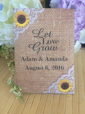 Burlap and lace with sunflowers seed packets - Favor Universe