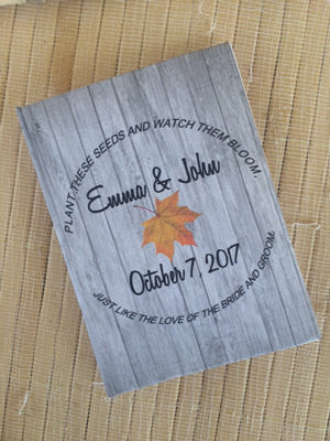 Rustic Fall Leaf Wedding Seed Packets Favor Universe