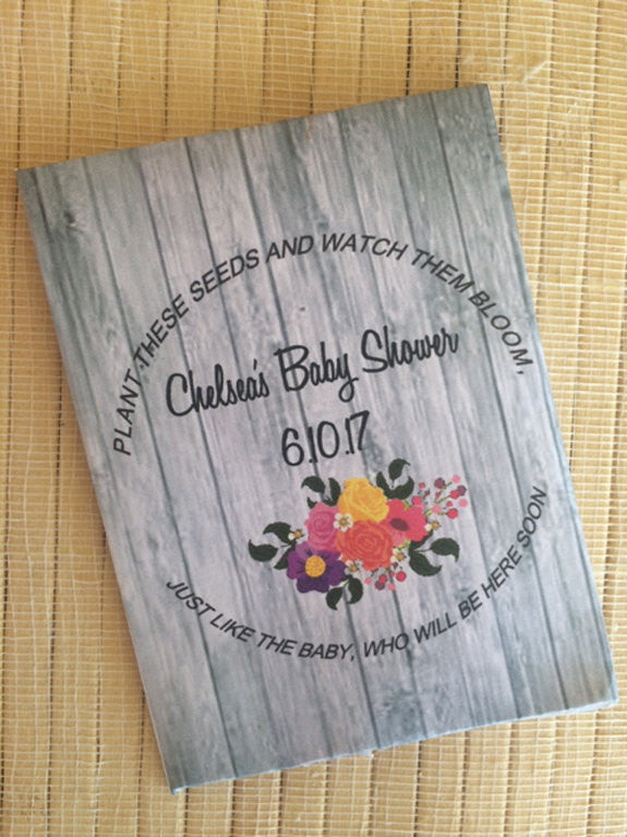 Wood Floral Baby Shower Seed Packets - Favor Universe