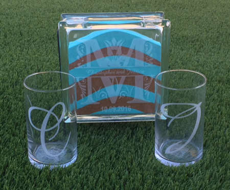 Sand Ceremony glass block set with side glasses - Favor Universe