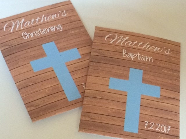 Blue Cross and Wood Background Baptism Seed Packets - Favor Universe